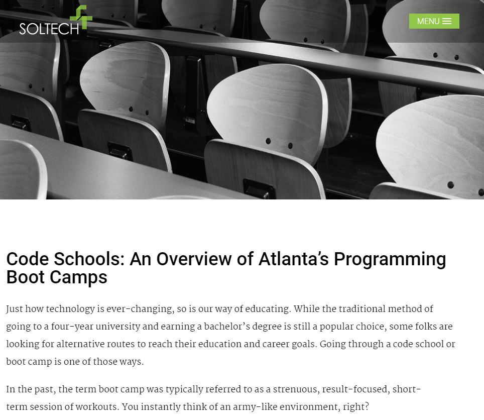 Soltech's Overview of Atlanta Programming Schools